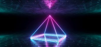 Futuristic Sci-Fi Blue Purple Glowing Neon Tube Pyramid Shaped L. Ights In Dark Room With Hexagon Shaped Floor And Ceiling With Empty Space Wallpaper 3D vector illustration
