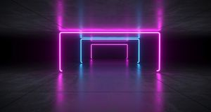 Futuristic Sci Fi Blue And Purple Neon Tube Lights Glowing In Co. Ncrete Floor Room With Refelctions Empty Space 3D Rendering Illustration Royalty Free Illustration