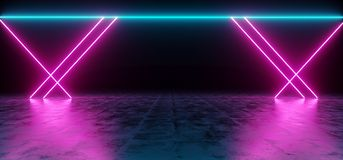 Futuristic Sci Fi Blue And Purple Neon Tube Lights Glowing In Co. Ncrete Floor Room With Refelctions Empty Space 3D Rendering Illustration Stock Illustration