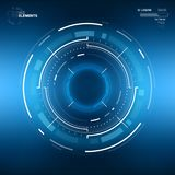 Futuristic Sci-Fi Circular HUD Element. Futuristic Sci-Fi HUD User Interface Circle Element Virtual Reality Design. Abstract Background. EPS 10 Stock Image