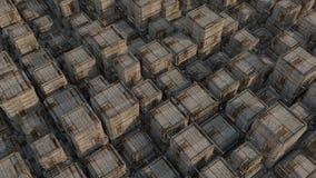 Futuristic sci-fi city street view, 3d digitally illustration Stock Image
