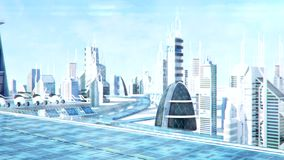 Futuristic sci-fi city street view, 3d digitally rendered animation stock video footage