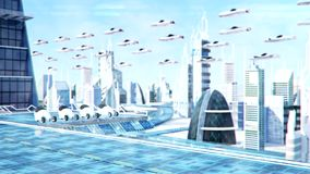 Futuristic sci-fi city street view, 3d digitally rendered illustration stock video