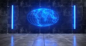 Free Futuristic Sci FI  Concrete Dark Room With World Map Globe On Ho Stock Image - 119718161