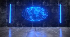 Futuristic Sci FI Concrete Dark Room With World Map Globe On Ho. Futuristic Sci FI Concrete Dark Room With World Map On Hologram Blue Light Glass On Wall 3D vector illustration
