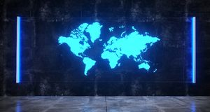 Futuristic Sci FI Concrete Dark Room With World Map On Hologram. Blue Light Glass On Wall Technology Concept 3D Rendering Illustration vector illustration