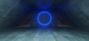 Futuristic Sci Fi Concrete Long Triangle Shaped Tunnel With Blue. Glowing Neon Circle Light Inside Empty Space 3D Rendering Illustration Vector Illustration