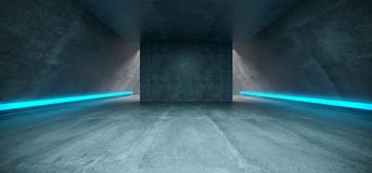 Futuristic Sci Fi Concrete Long Triangle Shaped Tunnel With Blue. Glowing Neon Line Signs Inside Empty Space 3D Rendering Illustration Vector Illustration