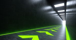 Futuristic Sci-FI Corridor With Green Pointing Arrows Lights And. Futuristic Sci-FI Corridor With Green Front Pointing Arrows Lights And Reflections. 3D Royalty Free Stock Images
