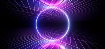 Futuristic Sci Fi Dark Club Dance Circle Shaped Neon Lights Glowing Blue Purple Pink Gradient In Empty Reflective Mesh Grid Metal stock illustration