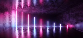 Futuristic Sci Fi Dark Empty Room With Blue And Purple Neon Glow. Ing Line Tubes On Grunge Concrete Floor With Reflections 3D Rendering Illustration stock illustration