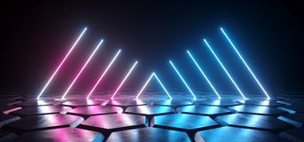 Futuristic Sci Fi Dark Empty Room With Blue And Purple Neon Glow. Ing Line Tubes On Grunge Concrete Hexagon Shaped Floor With Reflections 3D Rendering royalty free illustration