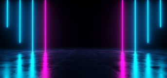 Futuristic Sci Fi Dark Empty Room With Blue And Purple Neon Glow. Ing Line Tubes On Grunge Concrete Floor With Reflections 3D Rendering Illustration vector illustration