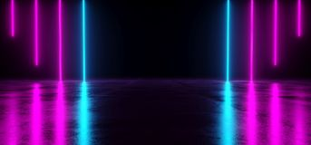 Futuristic Sci Fi Dark Empty Room With Blue And Purple Neon Glow. Ing Line Tubes On Grunge Concrete Floor With Reflections 3D Rendering Illustration Royalty Free Illustration