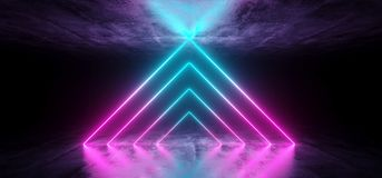 Futuristic Sci Fi Dark Empty Room With Blue And Purple Triangle. Shaped Neon Glowing Line Tubes On Grunge Concrete Floor With Reflections 3D Rnedering royalty free illustration