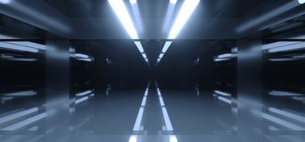 Futuristic Sci Fi Dark Room With A Lot Of Lights And Reflections. With Blurred Side Lights 3D Rendering Illustration Royalty Free Stock Image