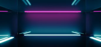 Futuristic Sci-FI Empty Dark Reflective Modern Stage Room With B. Lue And Purple Glowing Neon Lights Wallpaper Background 3D Rendering Illustration stock illustration