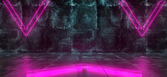 Futuristic Sci-Fi Empty Lighted Dark Grunge Concrete Room With N. Empty Lighted Dark Grunge Concrete Room With Neon Lights Pointing Arrows In The Middle. 3D royalty free illustration