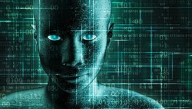Futuristic and sci-fi human android portrait with pcb metallic skin and binary code green background. AI, IT, technology, robotics