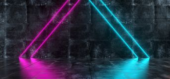 Futuristic Sci Fi Interior Grunge Concrete Room With Blue And Pu. Rple Triangle Shaped Neon Lights Glowing And Reflected On Floor Empty Space 3D Rendering Stock Image