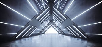Futuristic Sci-Fi Interior Ship Empty Triangle Shaped Multiple L. Ighted Corridor With Reflective Surfaces Concrete Floor And White Led Stripes With White End 3D Stock Illustration