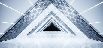 Futuristic Sci-Fi Interior Ship Empty Triangle Shaped Multiple L. Ighted Corridor With Reflective Surfaces And White Led Stripes With Black End 3D Rendering Royalty Free Illustration