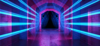 Futuristic  Sci Fi Laser Neon Shapes Glowing Light Vibrant Purple Blue Stage NIght Club Background Grunge Concrete Dark Tunnel. Hall Corridor Garage Fashion royalty free illustration