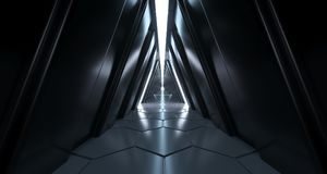 Futuristic Sci Fi Long Dark Triangle Corridor Hexagonal Floor An. D Reflective Walls 3D Rendering Illustration Vector Illustration