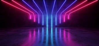 Futuristic Sci-Fi Modern Empty Stage Reflective Concrete Room Wi stock illustration