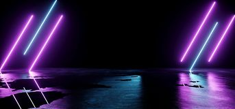 Futuristic Sci-Fi Modern Empty Stage Reflective Concrete Wet Water Room With Purple And Blue Glowing Neon Tubes Shape Empty Space. Wallpaper 3D Rendering stock illustration