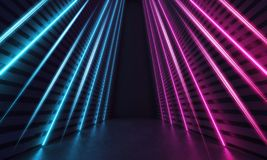Futuristic Sci-Fi Modern Room With Stripes Shaped Blue And Purple Glowing Neon Lines. 3D Render royalty free illustration