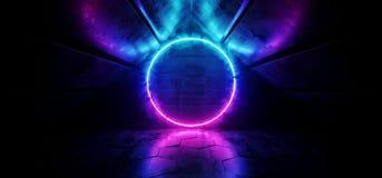Futuristic Sci Fi Modern Smoking VIbrant Neon Glowing Rainbow Gradient Purple Pink Blue Circle Shaped Light In Dark Triangle. Corridor Grunge Concrete stock illustration