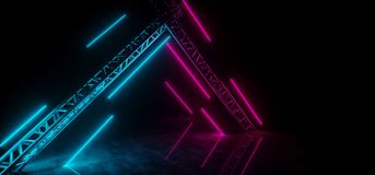 Futuristic Sci Fi Neon Purple And Blue Glowing Tubes Lighted Met. Al Stage Triangle Shaped Structure On Grunge Concrete Floor With Water Reflections On It 3D vector illustration