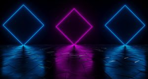 Futuristic Sci-Fi Neon Tube Vibrant Purple And Blue Glowing Ligh. Ts On Reflective Tilted Rough Concrete Surface In Dark Room Empty Space 3D Rendering royalty free illustration