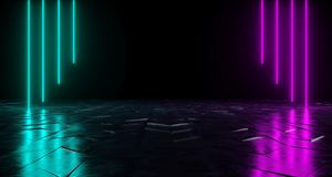 Futuristic Sci-Fi Neon Tube Vibrant Purple And Blue Glowing Ligh. Ts On Reflective Tilted Rough Concrete Surface In Dark Room Empty Space 3D Rendering vector illustration