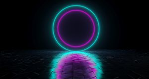 Futuristic Sci-Fi Circle Shaped Neon Tube Vibrant Purple And Blu. Futuristic Sci-Fi Neon Tube Vibrant Purple And Blue Glowing Lights On Reflective Tilted Rough stock illustration