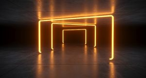 Futuristic Sci Fi Orange Neon Tube Lights Glowing In Concrete Fl. Oor Room With Refelctions Empty Space 3D Rendering Illustration vector illustration