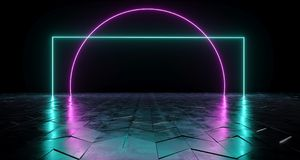 Futuristic Sci-Fi Rectangle And Circle Shaped Neon Tube Vibrant. Purple And Blue Glowing Lights On Reflective Tilted Rough Concrete Surface In Dark Room Empty vector illustration
