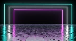 Futuristic Sci-Fi Rectangle Shaped Neon Tube Vibrant Purple And. Blue Glowing Lights On Reflective Tilted Rough Concrete Surface In Dark Room Empty Space 3D stock illustration