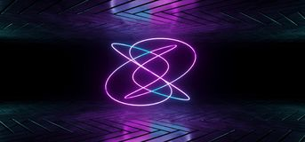 Futuristic Sci-Fi Reflective Dark Room Wallpaper With Purple And. Blue Gradient Glowing Abstract Neon Tube Shape In Middle 3D Rendering Illustration vector illustration