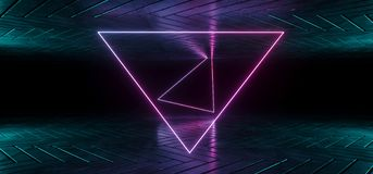 Futuristic Sci-Fi Reflective Dark Room Wallpaper With Purple And. Blue Gradient Glowing Triangle Neon Tube Shape In Middle 3D Rendering Illustration royalty free illustration