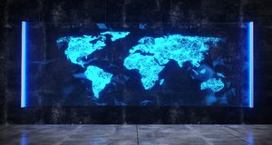 Futuristic Sci-Fi Room With Hologram Blue Lighted Bright Glass W. Ith Plexus World Map Hologram. 3D Rendering Illustration Royalty Free Stock Photo