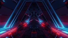 Futuristic sci-fi space war ship hangar tunnel corridor with reflective glass windows 3d illustration motion background