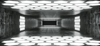 Futuristic Sci Fi Spaceship Grunge Concrete Empty Tunnel With W. Hite Glowing Hexagon Shaped Lights With Black Dark End 3D Rendering Illustration stock illustration