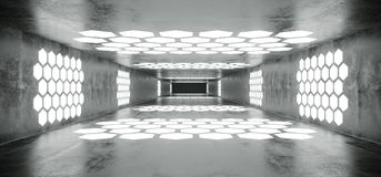 Futuristic Sci Fi Spaceship Grunge Concrete Empty Tunnel With W. Hite Glowing Hexagon Shaped Lights With Black Dark End 3D Rendering Illustration royalty free illustration
