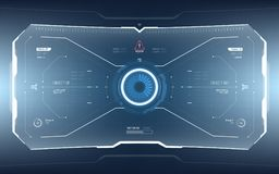 Futuristic Sci-Fi Technology HUD Screen. Futuristic Sci-fi vector HUD interface screen design. Virtual reality technology viewfinder display stock illustration
