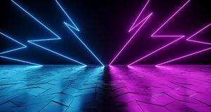 Futuristic Sci-Fi Thunderbolt Shaped Neon Tube Vibrant Purple An. D Blue Glowing Lights On Reflective Tilted Rough Concrete Surface In Dark Room Empty Space 3D stock illustration