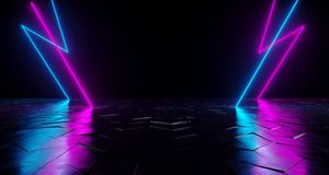 Futuristic Sci-Fi Thunderbolt Shaped Neon Tube Vibrant Purple An. D Blue Glowing Lights On Reflective Tilted Rough Concrete Surface In Dark Room Empty Space 3D vector illustration
