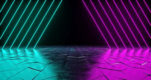 Futuristic Sci-Fi Triangle Shaped Neon Tube Vibrant Purple And B. Lue Glowing Lights On Reflective Tilted Rough Concrete Surface In Dark Room Empty Space 3D vector illustration