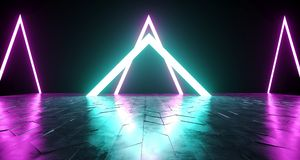 Futuristic Sci-Fi Triangle Shaped Neon Tube Vibrant Purple And B. Lue Glowing Lights On Reflective Tilted Rough Concrete Surface In Dark Room Empty Space 3D royalty free illustration
